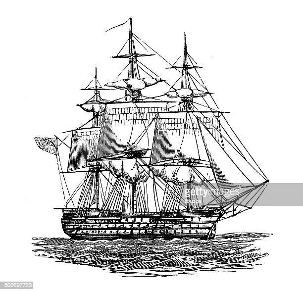 stockillustraties, clipart, cartoons en iconen met antique illustration of ship: duke of wellington - duke