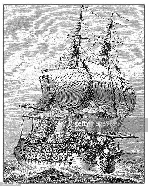 illustrations, cliparts, dessins animés et icônes de ancienne illustration de navire - image du xixème siècle