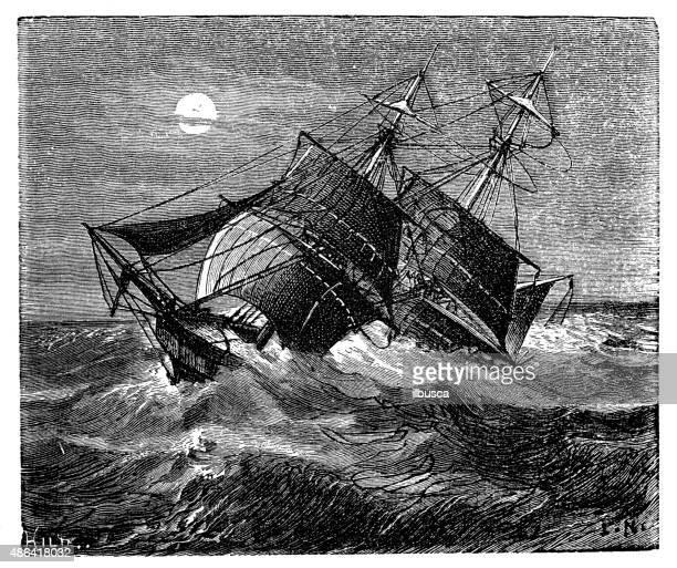 antique illustration of shipwreck - ship wreck stock illustrations