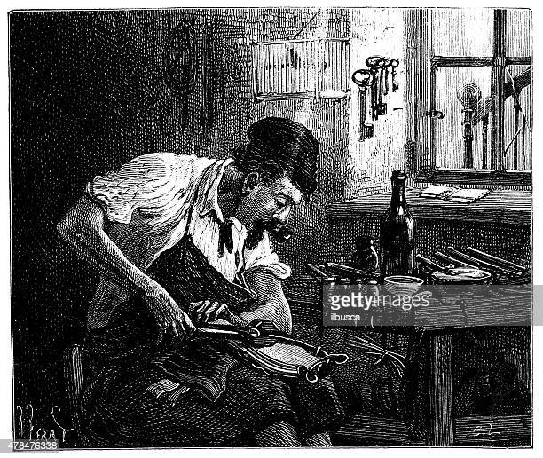 antique illustration of shoes production - drawing artistic product stock illustrations