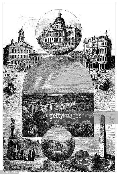 antique illustration of sites and monuments of boston - faneuil hall stock illustrations, clip art, cartoons, & icons