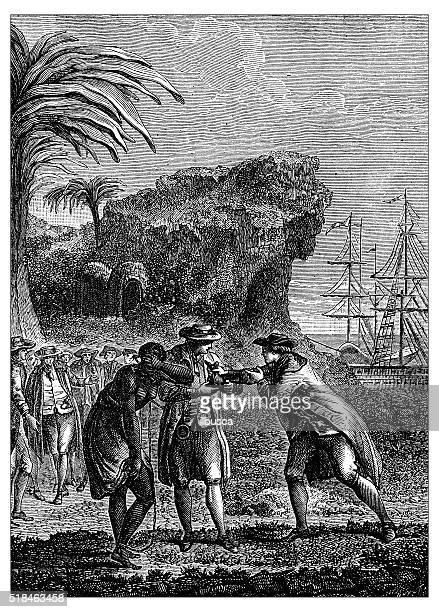 Antique illustration of slave trading