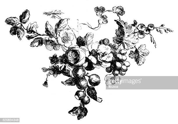 antique illustration of small fruit and flower garland - rose flower stock illustrations, clip art, cartoons, & icons