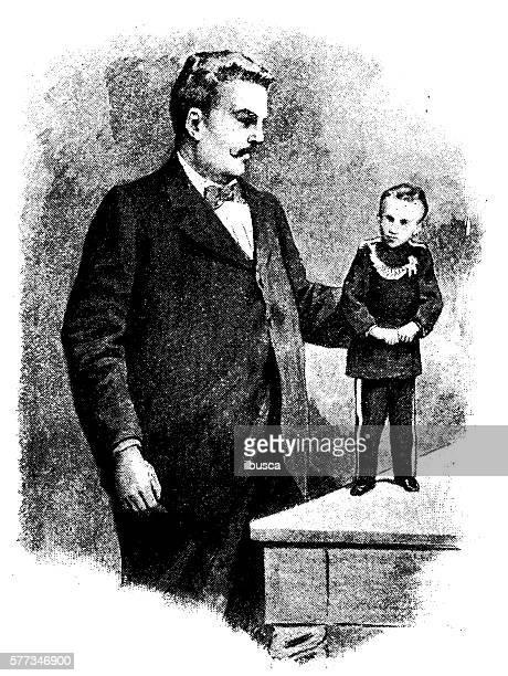 Antique illustration of small man