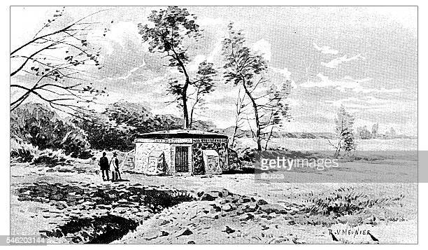 antique illustration of source (spring) d'erigny - aqueduct stock illustrations, clip art, cartoons, & icons