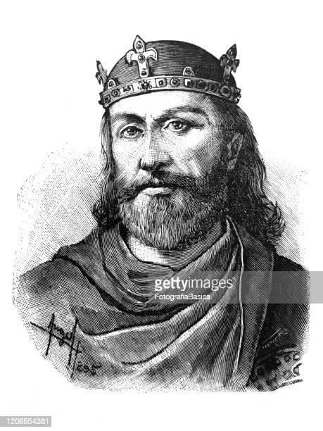 antique illustration of spanish king alfonso vi - spanish culture stock illustrations