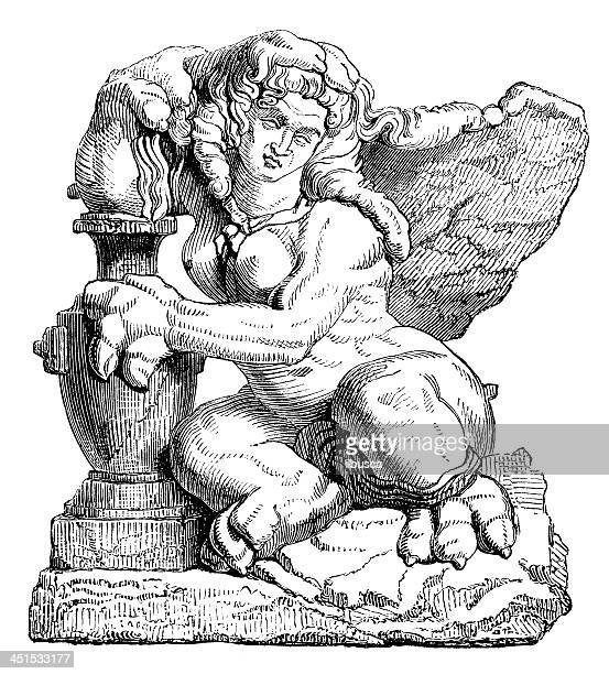 antique illustration of sphinx - the sphinx stock illustrations, clip art, cartoons, & icons