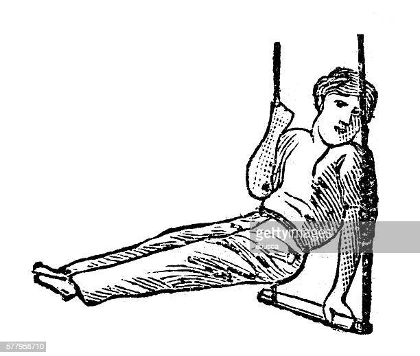 Antique illustration of sports and exercises: Artistic Gymnastic Trapeze