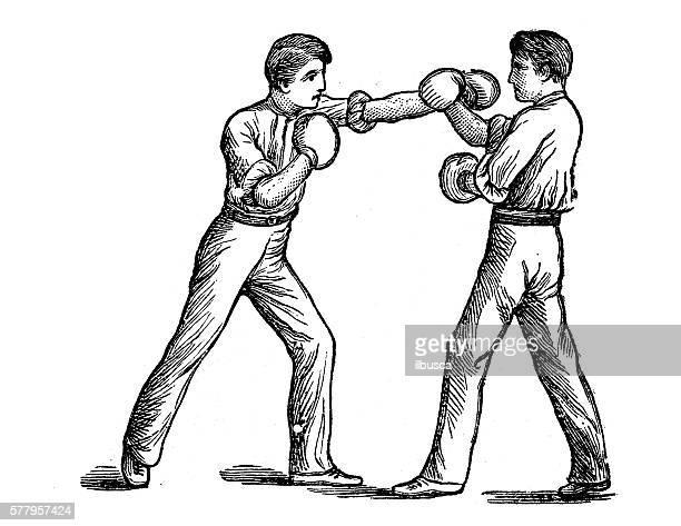 stockillustraties, clipart, cartoons en iconen met antique illustration of sports and exercises: boxing - linkshandig