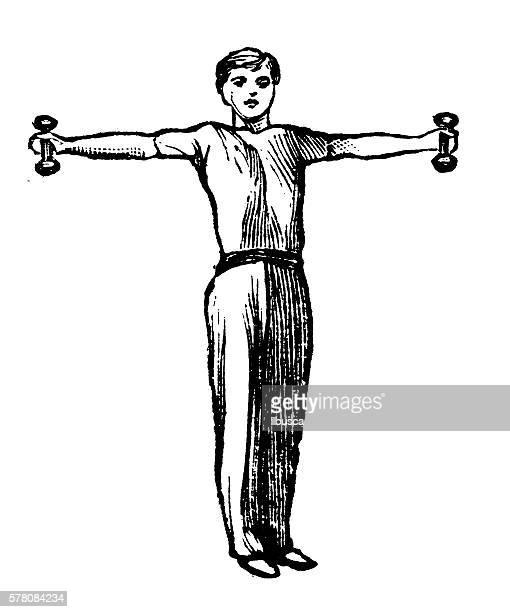 ilustraciones, imágenes clip art, dibujos animados e iconos de stock de antique illustration of sports and exercises: dumbells - entrenamiento de fuerza