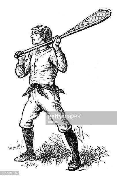 antique illustration of sports and exercises: lacrosse - drive ball sports stock illustrations, clip art, cartoons, & icons