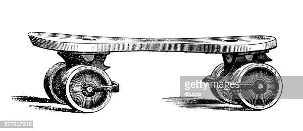 Antique illustration of sports and exercises: roller skate