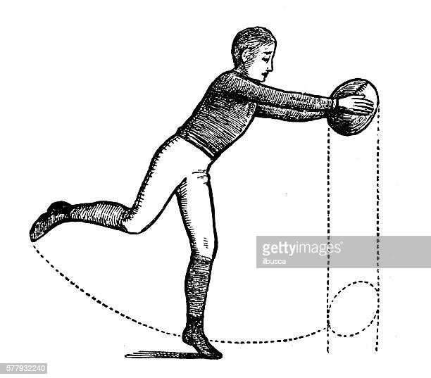 Antique illustration of sports and exercises: rugby