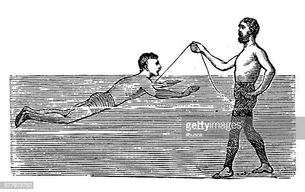 Antique illustration of sports and exercises: swimming