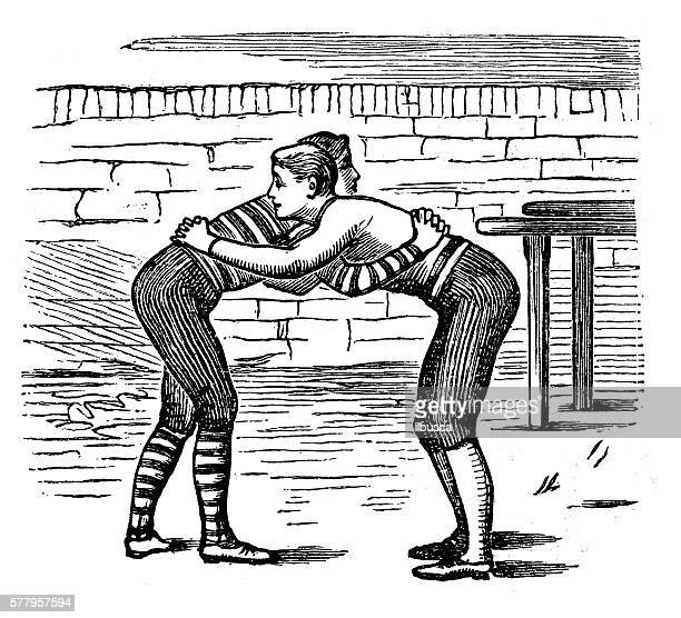 Antique illustration of sports and exercises: wrestling