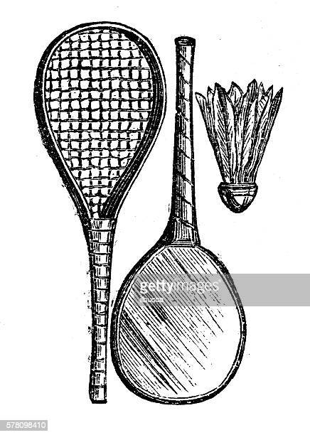 antique illustration of sports and leisure games: badminton - badminton sport stock illustrations