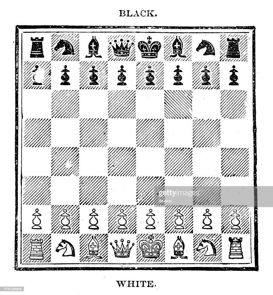 Antique illustration of sports and leisure games: chess : Ilustración de stock