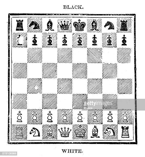 ilustraciones, imágenes clip art, dibujos animados e iconos de stock de antique illustration of sports and leisure games: chess - tablero de ajedrez