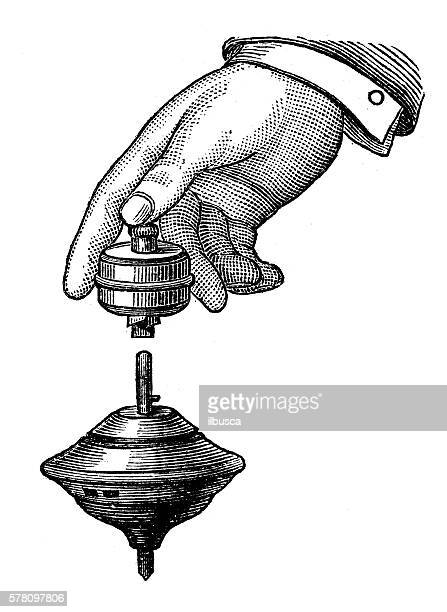 illustrations, cliparts, dessins animés et icônes de antique illustration of sports and leisure games: spinning top - jouet