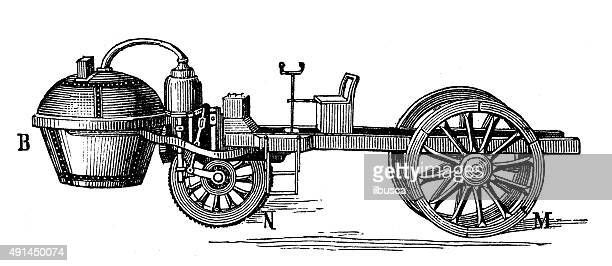 Antique illustration of steam and gas vehicles