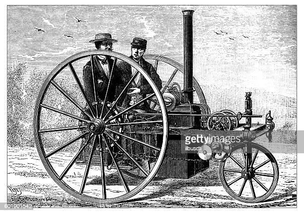 ilustrações, clipart, desenhos animados e ícones de antique illustration of steam car - história