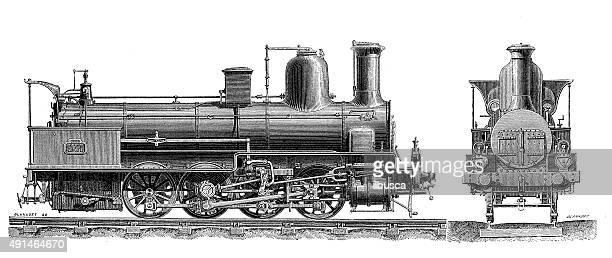 Antique illustration of steam locomotive