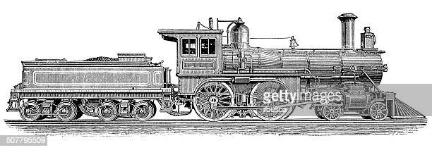 antique illustration of steam powered machinery - steam train stock illustrations