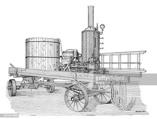 """illustrazioni stock, clip art, cartoni animati e icone di tendenza di antique illustration of steam spraying machine agricultural machinery - """"ilbusca"""""""