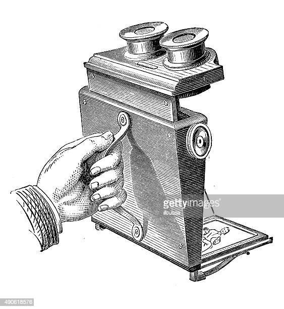 antique illustration of stereoscope - optical instrument stock illustrations, clip art, cartoons, & icons