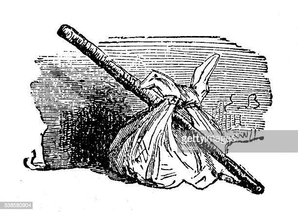 antique illustration of stick and bag - vagabond stock illustrations, clip art, cartoons, & icons