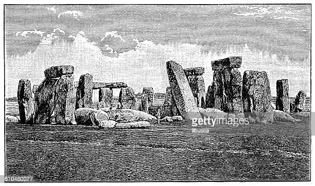 ilustrações de stock, clip art, desenhos animados e ícones de antiguidade ilustração de círculo de pedras de stonehenge - megalith