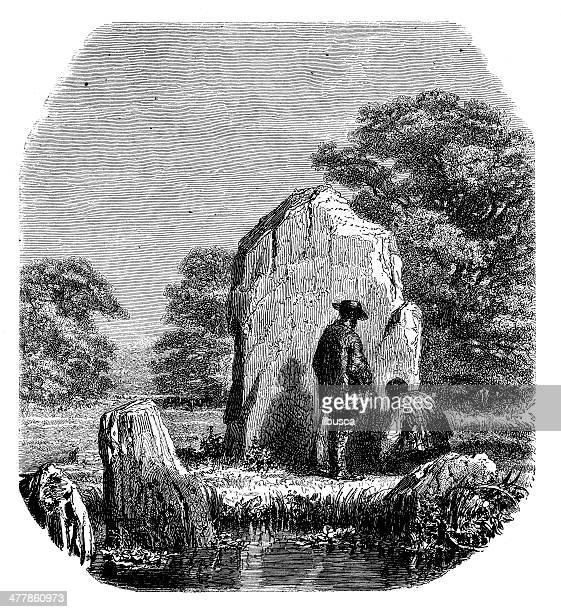 antique illustration of stone menhir - megalith stock illustrations, clip art, cartoons, & icons