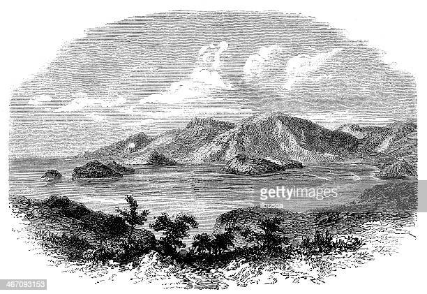 Antique illustration of Strait Magellan area