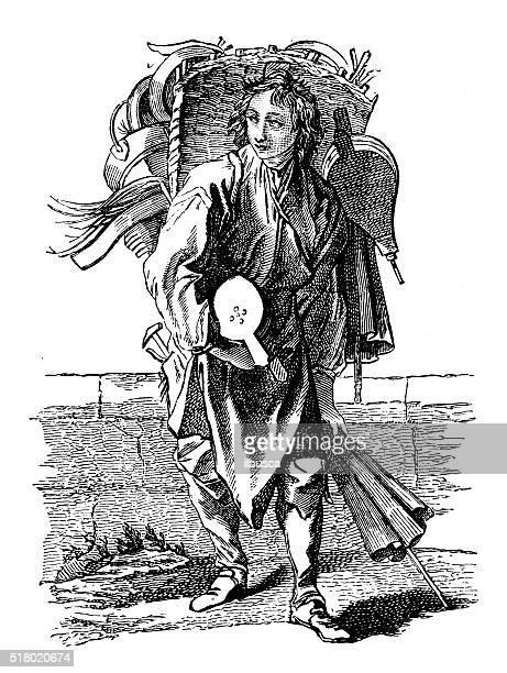 illustrations, cliparts, dessins animés et icônes de ancienne illustration de rue - marchand