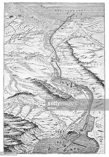 antique illustration of suez canal aerial view - suez canal stock illustrations