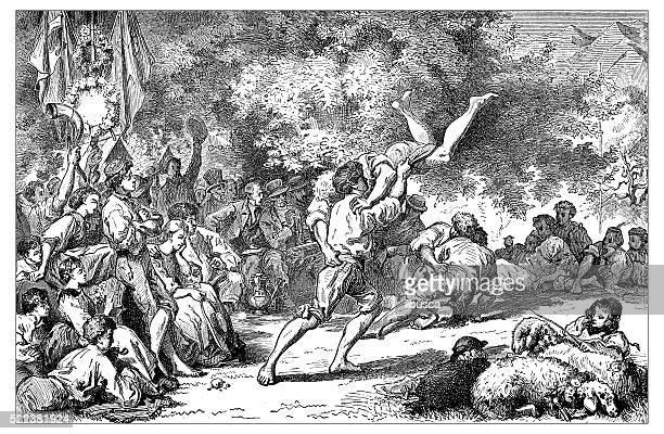 Antigo ilustração de Suíça : Combate