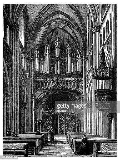 Antique illustration of Switzerland: Fribourg Cathedral