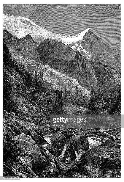 antique illustration of switzerland: glacier des bossons and mont blanc - mont blanc stock illustrations, clip art, cartoons, & icons