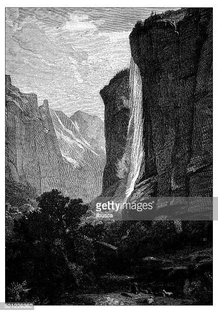 ilustraciones, imágenes clip art, dibujos animados e iconos de stock de anticuario ilustración de suiza : staubbach - valle