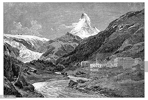 antique illustration of switzerland: zermatt and matterhorn - zermatt stock illustrations