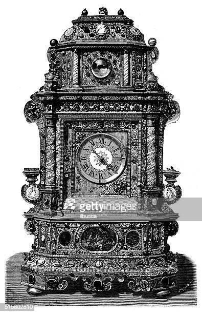 Antique illustration of table clock of Nikolaus I, Prince Esterházy