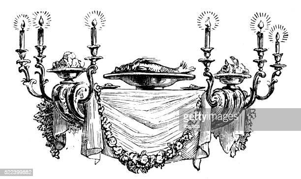 Antique illustration of table-shaped chandelier: