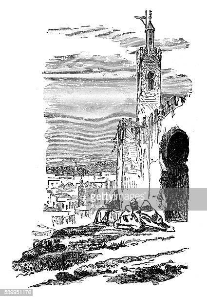 Antique illustration of Tangier (Tangiers) castle