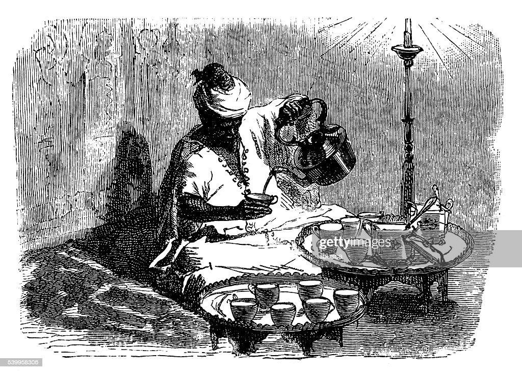 Antique illustration of Tangier (Tangiers) making tea : stock illustration