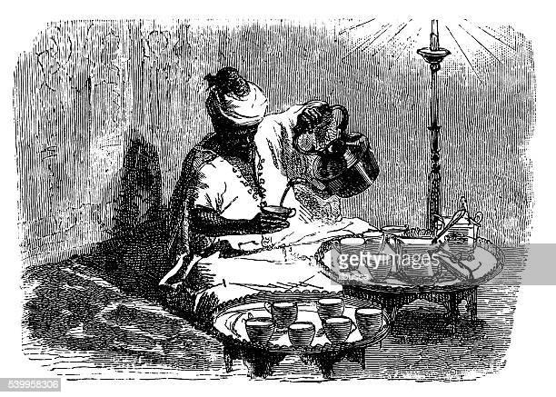 Ilustração antiga de Tânger (Tânger) fazer chá