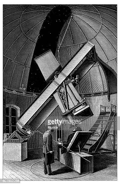 Antique illustration of telescope photography