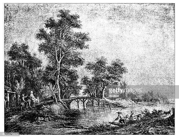 antique illustration of the banks of loiret river - loire valley stock illustrations, clip art, cartoons, & icons