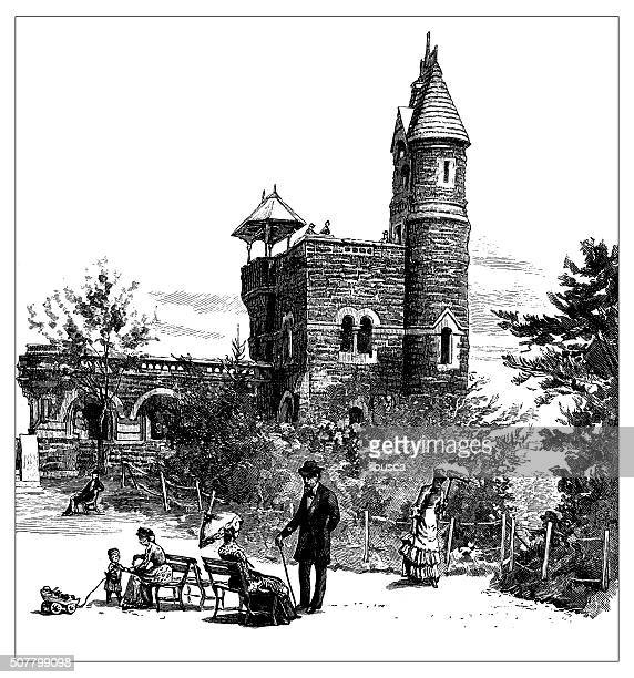 Antique illustration of the Belvedere, Central Park, New York