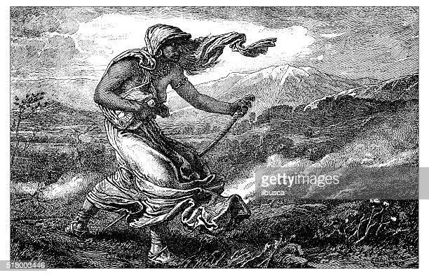 antique illustration of the cumean sibyl - mt vesuvius stock illustrations, clip art, cartoons, & icons