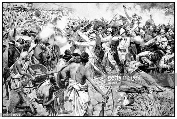 antique illustration of the first italo-ethiopian war (1895-1896): adua (adwa) battle - battle of adwa stock illustrations